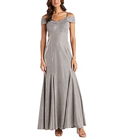 Cold-Shoulder Metallic Mermaid Gown