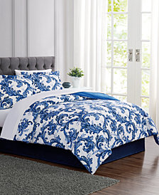 Blue Scroll 6-Pc. Twin Comforter Set, Created For Macy's