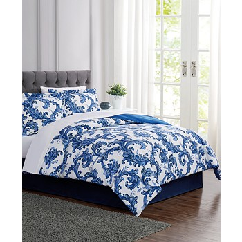 6-Piece Pem America Blue Scroll Twin Comforter Set