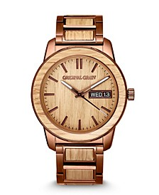 Men's Whiskey Barrel Wood paired with Espresso Stainless Steel Bracelet Watch 42mm