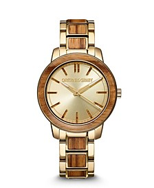 Women's Reclaimed From Zebrawood Paired with Gold-Tone Stainless Steel Bracelet Watch 36mm