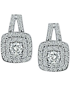 Cubic Zirconia Double Halo Drop Earrings in Sterling Silver, Created for Macy's