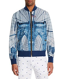 Men's Slim-Fit Construction Reversible Bomber Jacket