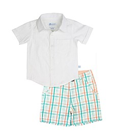 Toddler Boys Button Down Shirt and Presley Plaid Shorts Set