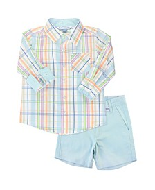 Toddler Boys Plaid Shirt and Chino Shorts Set