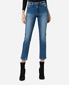 Mid Rise Slim Straight Crop Jeans