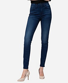 High Rise Front Crease Line Skinny Ankle Jeans