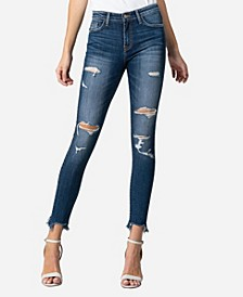 Mid Rise Slashed Raw Hem Skinny Ankle Jeans