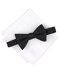 Men's Dot Gird Bow Tie & Solid Pocket Square Set, Created for Macy's
