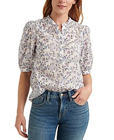 Printed Popover Poet Top