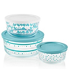 Doodle Decorated 6-Pc. Food Storage Containers