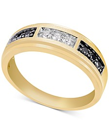 Men's Black & White Diamond Band (1/2 ct. t.w.) in 10k Gold