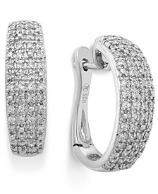 Diamond Pave Hoop Earrings in Sterling Silver (1/2 ct. t.w.)