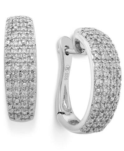 Diamond Pave Hoop Earrings in Sterling Silver (1/2 ct. t.w.)