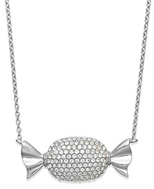 Platinum Over  Sterling Silver Crystal Candy Pendant Necklace