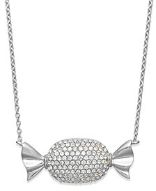 Simone I. Smith Platinum Over  Sterling Silver Crystal Candy Pendant Necklace