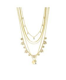 Rhinestone Multi Layered Flower Charm Necklace