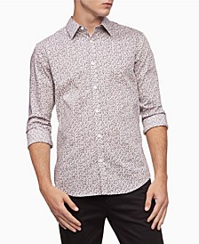 Men's Stretch Cotton Camo-Print Button-Down Long Sleeve Shirt