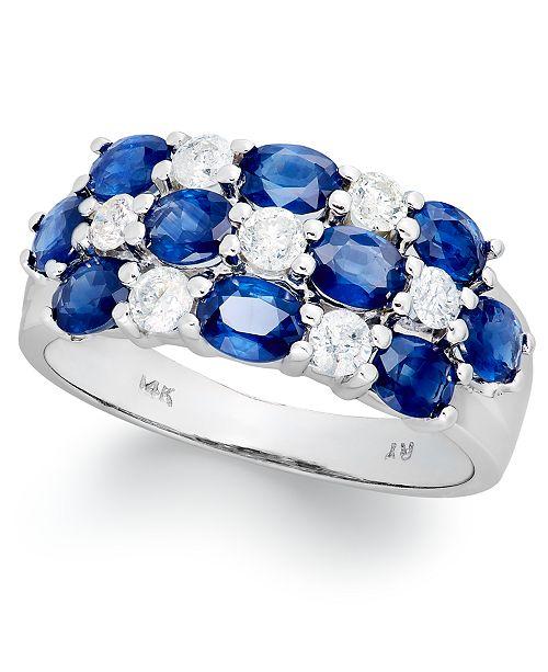 Macy's 14k White Gold Ring, Sapphire (2-1/2 ct. t.w.) and Diamond (1/2 ct. t.w.) Three-Row Ring
