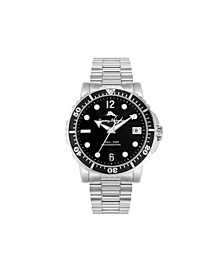 Men's Naples Cove Diver Silver-Tone Stainless Steel Bracelet Watch, 45mm