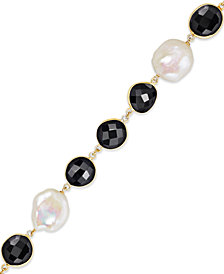 Cultured Freshwater Pearl (11-1/2mm-15-1/2mm) and Onyx (10-14mm) Bracelet in 18k Gold over Sterling Silver