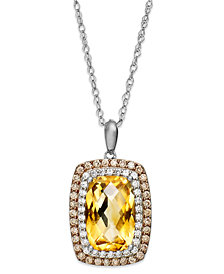 Sterling Silver Necklace, Citrine (3-1/3 ct. t.w.), White Topaz (1/5 ct. t.w.) and Champagne Diamond (1/3 ct. t.w.) Rectangle Pendant