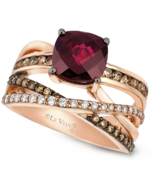Le Vian Raspberry Rhodolite Garnet (2-3/4 ct. t.w.) and Chocolate and White Diamond (3/4 ct. t.w.) Ring in 14k Rose Gold, Created for Macy's