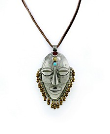 by 1928 Pewter Genuine Quartz, Carnelian, Turquoise, Aztec Warrior Mask Rawhide Necklace