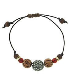 by 1928 Adjustable Leather Bracelet with Diamond Color Fireball and Carnelian
