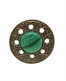 by 1928 Aztec Mandala Semi-Precious Malachite Ring