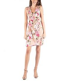 Sleeveless V-Neck Empire Waist Floral Cocktail Dress