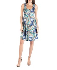 Paisley A-Line Fit and Flare Mini Dress