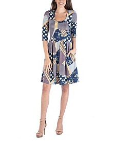 Patchwork Print Fit and Flare Mini Dress