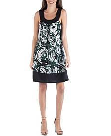 Colorblock Geometric Swirl Pattern Sleeveless Mini Dress