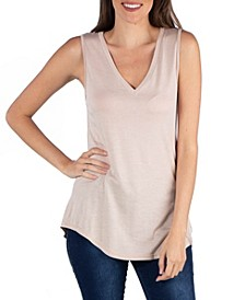 V-Neck Tunic Tank Top with Round Hemline