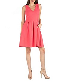 V-Neck Sleeveless A-Line Dress with Pockets