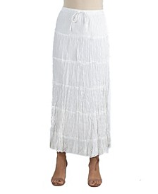 Bohemian Style Embroidered Maxi Skirt with Drawstring