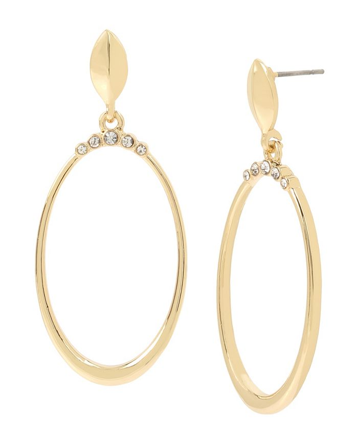 """Jessica Simpson - Stone Crown Gypsy Hoop Earrings, 2"""""""