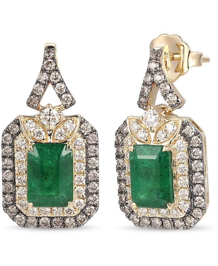Le Vian - New Emerald (1-3/8 ct. t.w.) & Diamond (3/4 ct. t.w.) Drop Earrings in 14k Gold