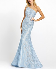 Embellished One-Shoulder Fit & Flare Lace Gown