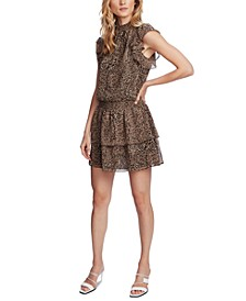 Smocked-Neck Leopard-Print Mini Dress