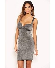 Women's Glitter Cupped Bodycon Dress