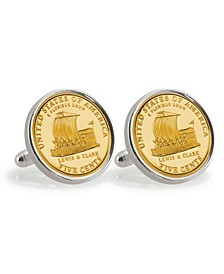 Gold-Layered 2004 Keelboat Sterling Silver Coin Cuff Links