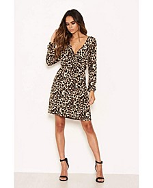 Women's Leopard Print Elasticated Waist V-Neck Dress