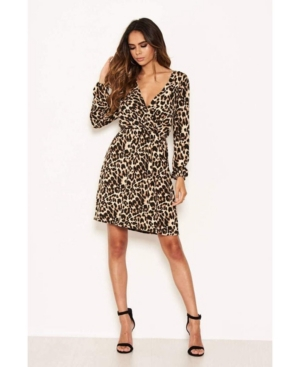 Women's Leopard Print Elasticated Waist V-Neck Dress