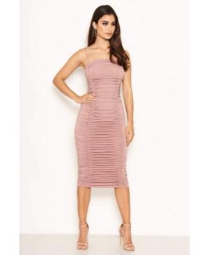 Women's Ruched Strappy Bodycon Midi Dress