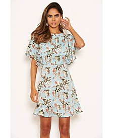 Women's Floral Print Cross Back Dress