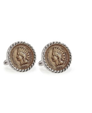 1859 First-Year-Of-Issue Indian Head Penny Rope Bezel Coin Cuff Links