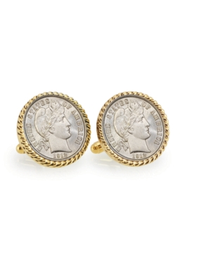 Silver Barber Dime Rope Bezel Coin Cuff Links