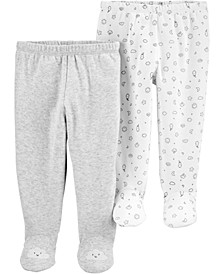 Baby Boys or Girls 2-Pair Cotton Footed Pants